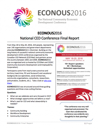 ECONOUS2016 National CED Conference Final Report